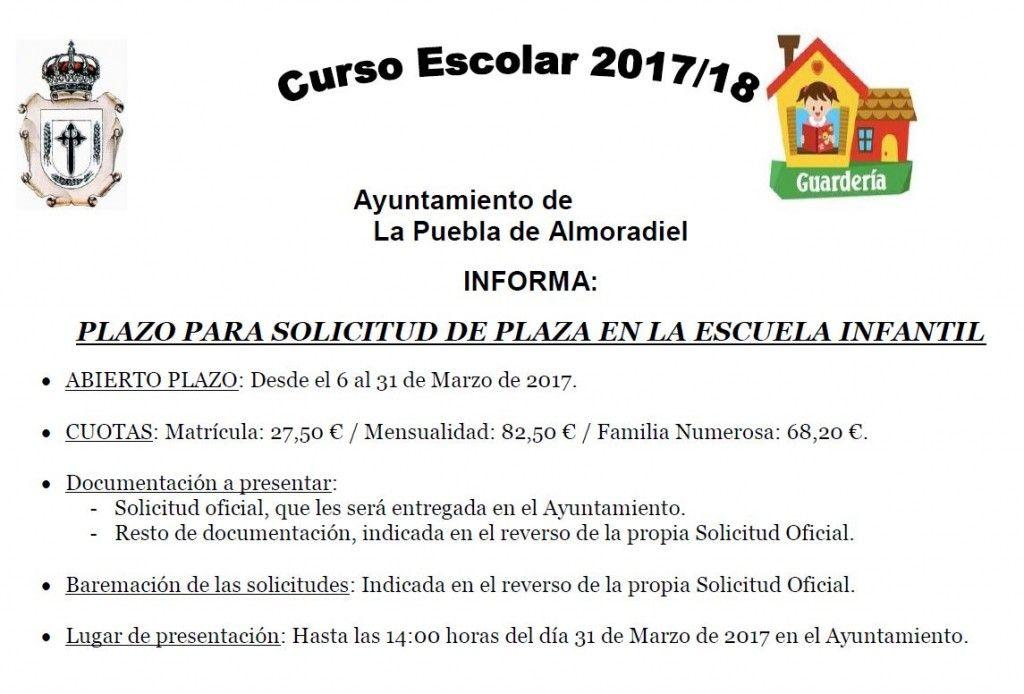 Escuela Infantil - RESERVA DE PLAZA 2017-2018