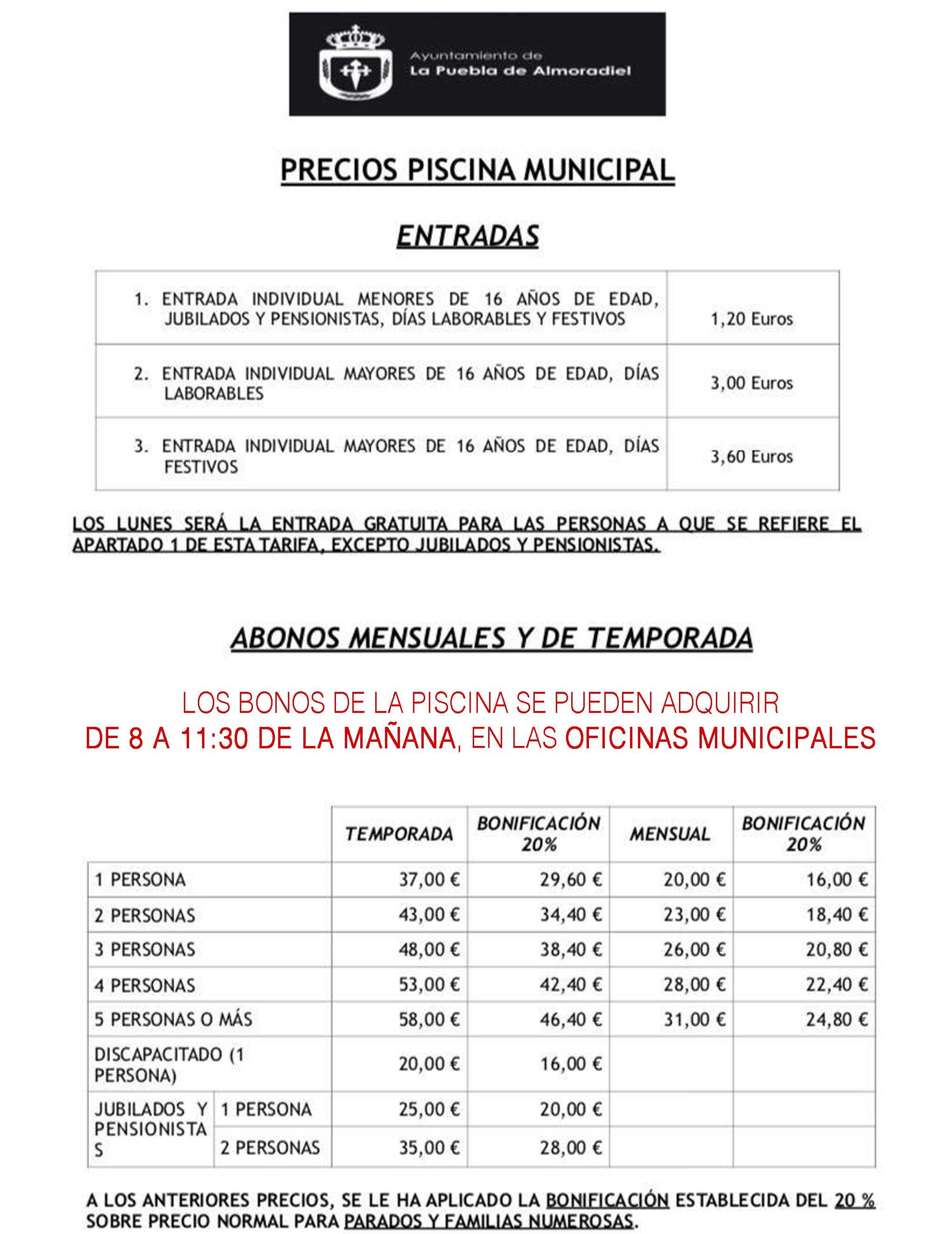 Informacion Sobre Precios De La Piscina Municipal Ayuntamiento De