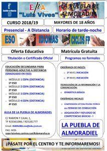 Oferta formativa en el Aula de Adultos de La Puebla de Almoradiel